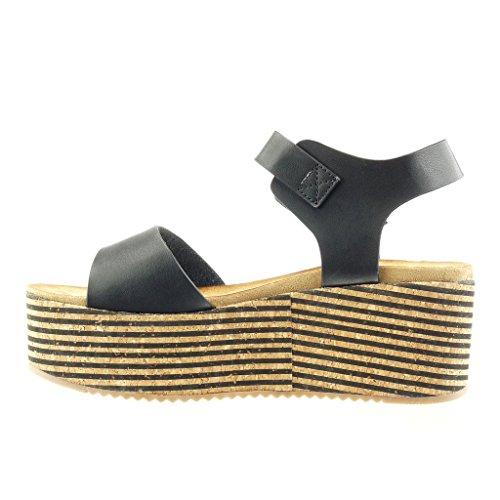 Angkorly Zapatillas de Moda Sandalias Mules Zapatillas de Plataforma Mujer Corcho Líneas Tanga Talón Plataforma 7 cm - Negro