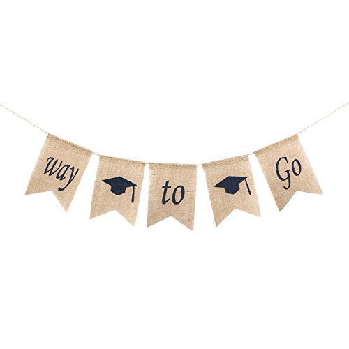 LUOEM 2018 Graduation Bunting Banner WAY TO GO Burlap Banner Rustic Graduation Party Decoration Banners Garland (Rustic Graduation Party)