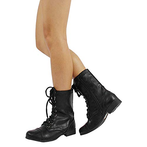 174eba4a2 Jual SODA Women's Relax Faux Leather Military Combat Lace Up Boots ...