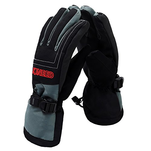 Tagvo Winter Gloves Lined in Thick Fleece Good Warmth, Built-in Extra Waterproof Layer Ensuring Hands Dry Even Soak in Water, Windproof Soft Comfortable Snowboard Ski Gloves for Men Women