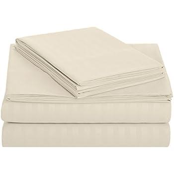 AmazonBasics Deluxe Striped Microfiber Bed Sheet Set - Queen, Beige