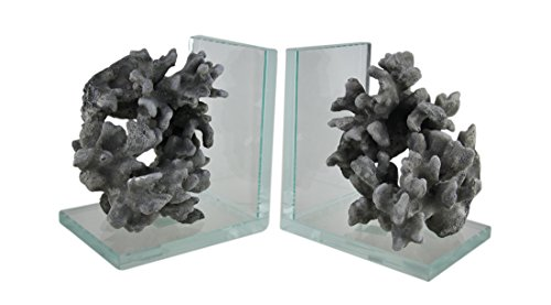 Zeckos Pair of Gray Finish Blue Ridge Coral On Glass Coastal Bookends