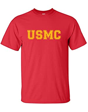 USMC Athletic Gold Adult Short Sleeve T-Shirt in 10 Colors