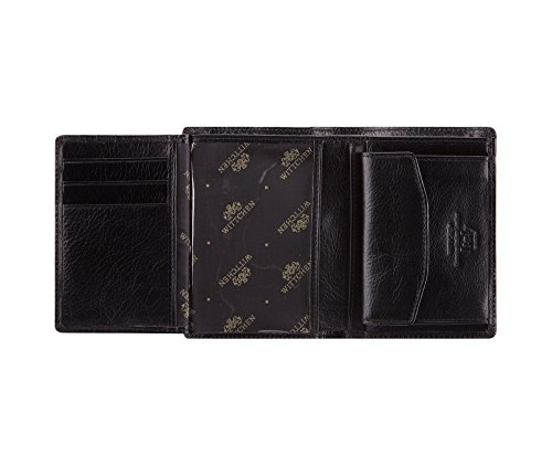 WITTCHEN Portafoglio, Dimensione: 9x12cm, Nero, Materiale: Pelle di grano, Verticale, Collezione: Italy - 21-1-023-1