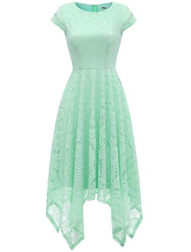 AONOUR AR8009 Women's Floral Lace Cap Sleeve Handkerchief Hem Cocktail Party Swing Dress Mint 2XL