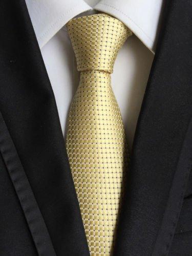 New Classic Checks Beige Black JACQUARD WOVEN 100% Silk Men's Tie - Jojo Armani