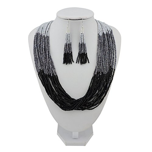 BOCAR Multi Layer Beaded Statement Necklace Set Mix Strand Necklace and earrings for Women Gift (NK-10459-silver+dark gray+mattle (Multi Chain Beaded Necklace)