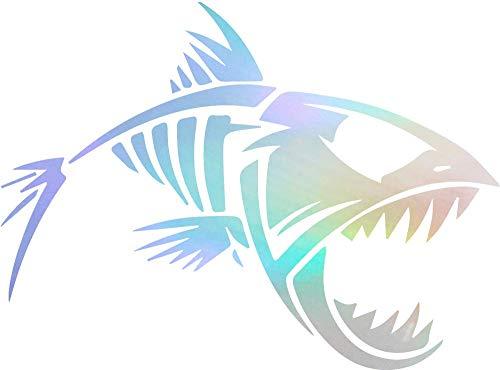 Fish Decal Set - ANGDEST Skeleton Fish (Hologram) (Set of 2) Premium Waterproof Vinyl Decal Stickers for Laptop Phone Accessory Helmet Car Window Bumper Mug Tuber Cup Door Wall Decoration