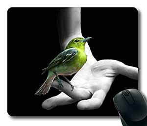 Beautiful Bird On Hand Masterpiece Limited Design Oblong Mouse Pad by Cases & Mousepads
