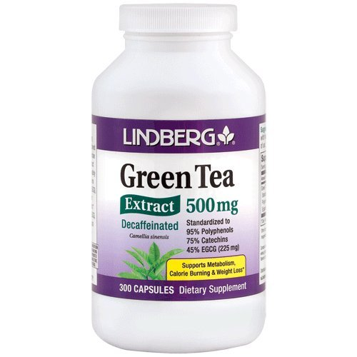 Lindberg Green Tea Extract Decaffeinated 500 Mg - Standardized to 95% Polyphenols, 75% Catechins and 45% EGCG (225 Mg) (300 Capsules) (Green Tea Extract No Caffeine compare prices)