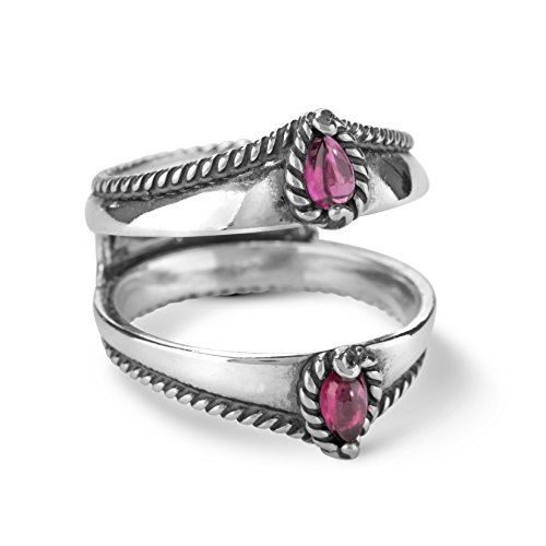 Carolyn Pollack Sterling Silver Rhodolite Garnet Ring Guard,  size  8
