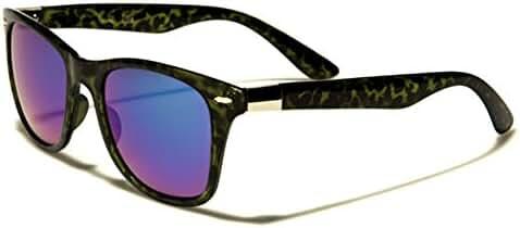 Retro Fashion Slim Sunglasses Camouflage Frame Color Mirror Lens LARGE Size