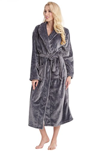 Aibrou Womens Plush Soft Warm Coral Fleece Bathrobe Long Robes