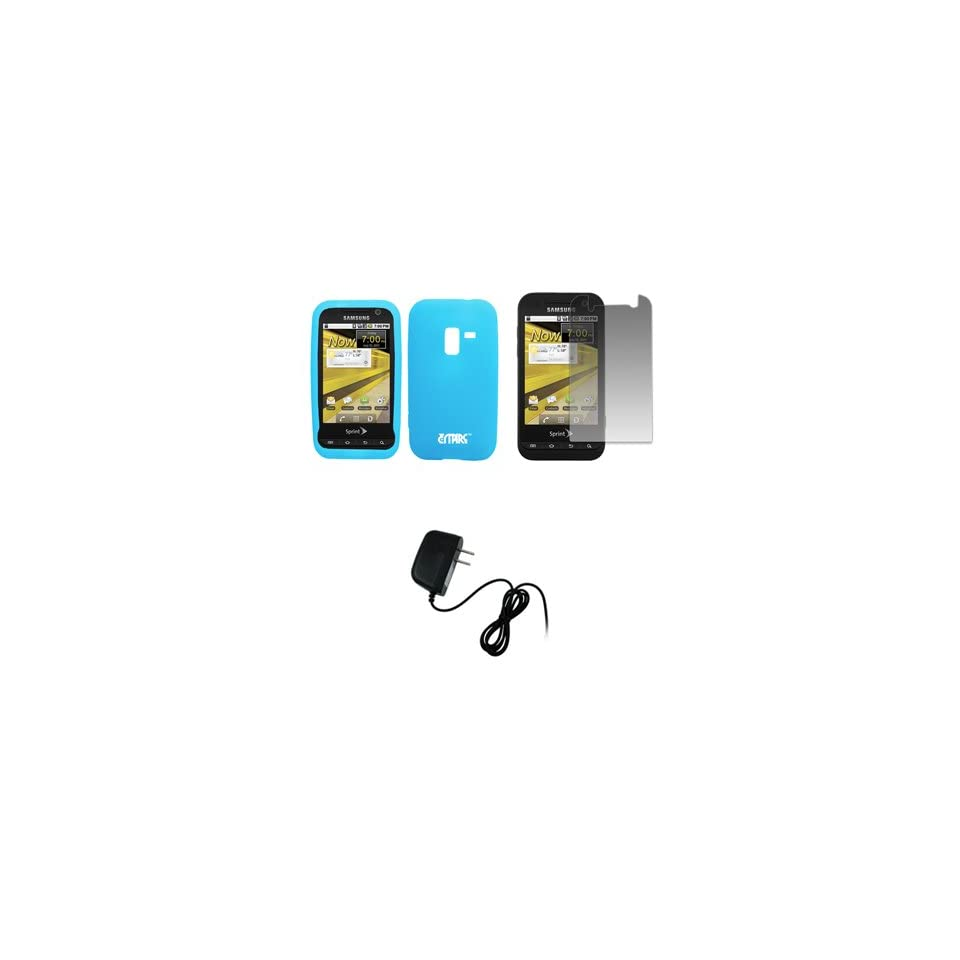 EMPIRE Sprint Samsung Conquer 4G Light Blue Silicone Skin Case Cover + Screen Protector + Home Wall Charger [EMPIRE Packaging]