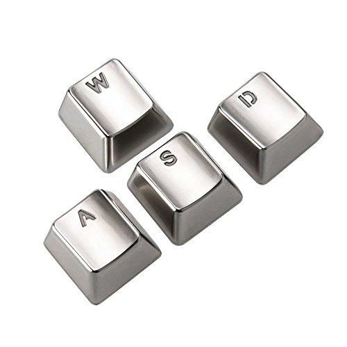 AGPtek¨ Electroplating Sliver Keyset Zinc Transparent WASD 4 Key Caps Cherry MX Keycap for Metal Mechanical Keyboard