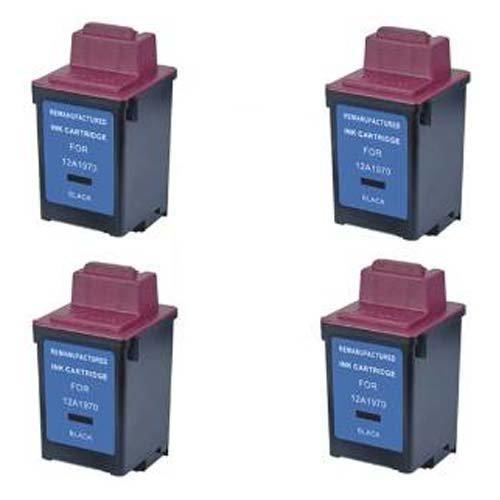 Cartridge 12a1970 Remanufactured Black Inkjet (Amsahr 12A1970 Lexmark 12A1970, 1000, 1020 Remanufactured Replacement Ink Cartridges, 4-Pack, Black)
