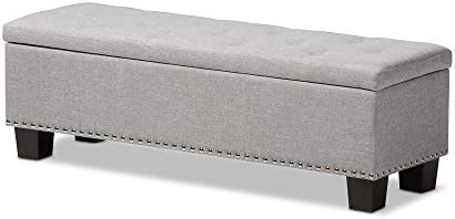 Baxton Studio Sandrine Modern and Contemporary Greyish Beige Fabric Upholstered Button-Tufting Storage Ottoman Bench