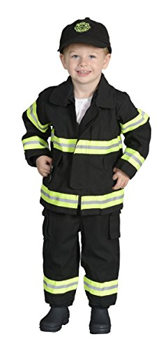 Aeromax Jr. CHICAGO Fire Fighter Suit, Black, 18 Months.  The best #1 Award Winning firefighter suit.  The most realistic bunker gear for kids everywhere.  Just like the real (Fireman With Hose Adult Costume)
