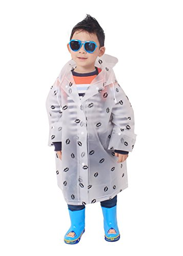 Price comparison product image Aircee Kids Rain Poncho Long Sleeves Hooded Clear Rain Slicker Lips Pattern (L, Black Lips)