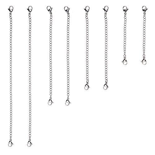 D-buy 8 Piece Stainless Steel Necklace Bracelet Extender Chain, Set 4 Different Length: 6