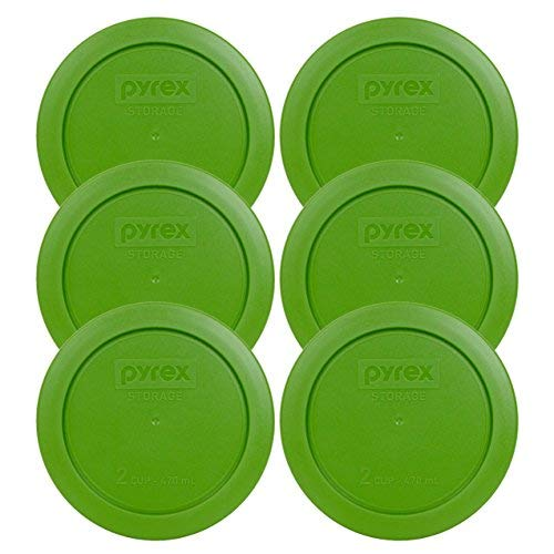 Pyrex Green 2 Cup Round Storage Cover #7200-PC for Glass Bowls - 6 Pack by Pyrex