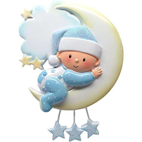 (Personalized Baby on Mr. Moon Christmas Tree Ornament 2019 - Boy Pajamas Glitter Sleep Hat Hug Bed Clouds Stars First New Mom Shower Gift Grand-Son Kid Pjs Mobile Year - Free Customization (Blue))