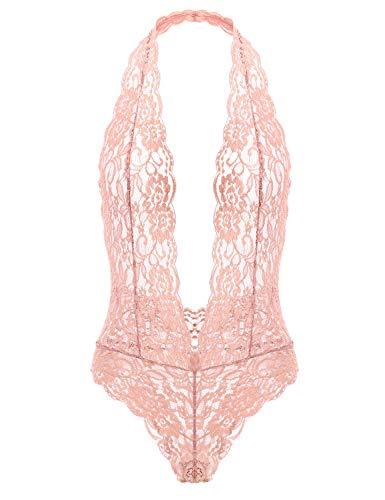 (Garmol Women's Deep V Plunging Teddy Lingerie Halter Lace Babydoll Bodysuit (Small, Pink))