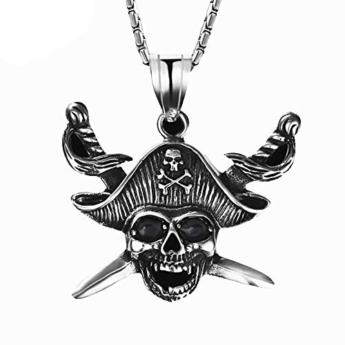 - Sping Jewelry Pirate Necklace Costume Stainless Steel Skull Pirate Captain Pendant