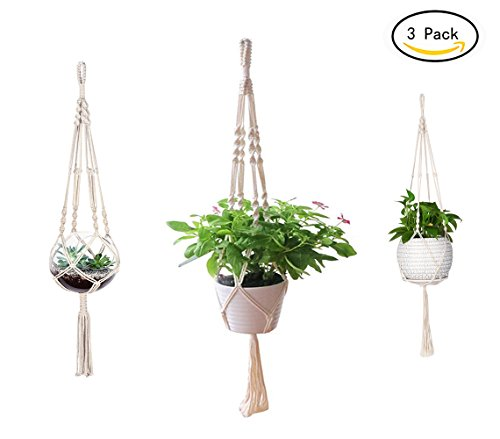 Plant Hangers Pot (AOMGD 3 Pack Macrame Plant Hanger Indoor Outdoor Hanging Plant Holder Hanging Planter Stand Flower Pots for Decorations - Cotton Rope, 4 Legs, 3 Sizes)