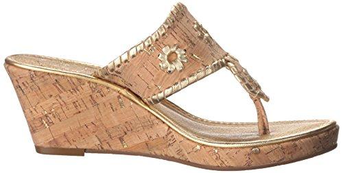Jack Rogers mujer's Marbella Mid Wedge Sandal,Natural Cork/Gold,6 M US