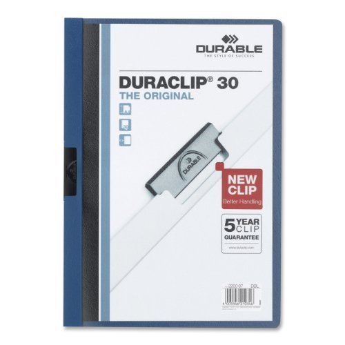 Durable Vinyl DuraClip Report Cover, Letter, Holds 30 Pages, Clear/Dark Blue (DBL2203-07) Size: 30 Sheet Capacity Color: Dark Blue, Model: DBL220307, Office Shop