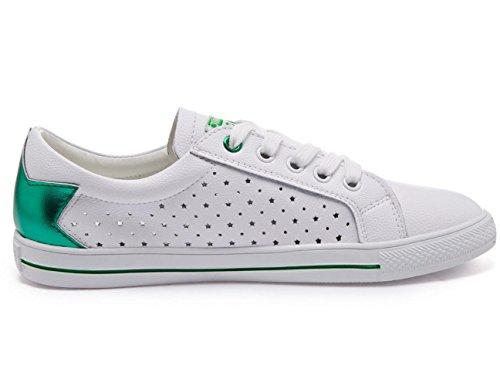 Scarpe Women 's YCMDM cuoio genuino Spell scarpe Tie Lace Tempo libero Piccolo piatto bianco Scarpe comode scarpe rotonde singoli pattini , white green star hole , 36