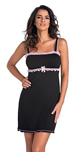 scollatura Principesca in Rosa confezione Donna splendida una con da regalo camicia fantastica in Nero notte negligé viscosa zwqadqXn