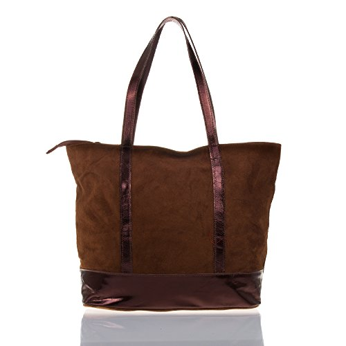 FIRENZE ARTEGIANI.Bolso shopping bag de mujer piel auténtica.Bolso mujer cuero genuino GAMUZA. Asas detalle piel grabada metalizado. MADE IN ITALY. VERA PELLE ITALIANA. 40x33x17 cm. Color: MARRON CAMEL