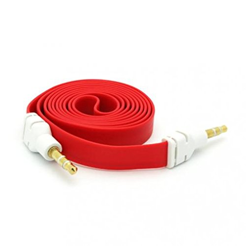 Red Flat Aux Cable Car Stereo Wire Audio Speaker Cord 3.5mm Aux-in Adapter Auxiliary [Tangle Free] for Ipod Nano 5th Gen, 7th Gen, Touch 1st Gen, 2nd Gen, 3rd Gen, 4th Gen, iPod Touch 5