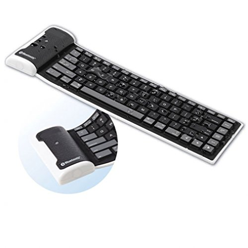Mini Black Wireless Flexible Roll-Up Bluetooth Water-Proof Keyboard for iPhone 6 6S, Plus, 5S 5C 5 4S - Samsung Galaxy S6, S6 Edge, S5, S4, S3, S2, Mini, Active - Galaxy Note 5 4 3 2 Edge (Bluetooth Iphone 4s Keyboard)