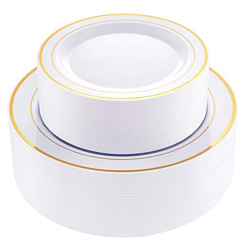 102 pcs Gold Plastic Plates, Disposable Party Plates,Gold Rimmed White Plates, Premium Heavyweight Plates for Wedding,Easter include 51 Dinner plates, 51 Dessert Plates, Supernal]()