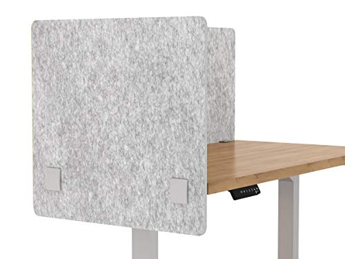 VaRoom Acoustic Partition, Sound Absorbing Desk Divider  24 W x 24H Privacy Desk Mounted Cubicle Panel, Iced Grey