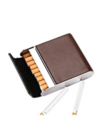 Stainless Steel Cigarette Case Vertical Section Ultra Thin Portable Cigarettes Box Business Gift Can Accommodate 20,Coffee,9.5X8.2X2.1CM