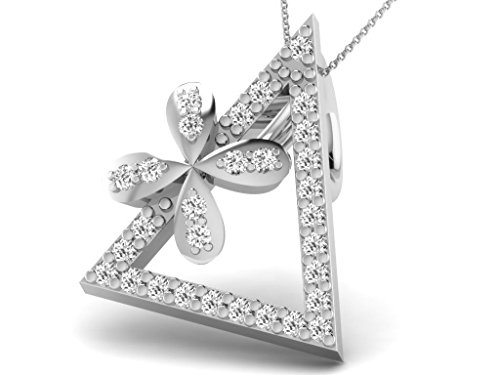 Or Blanc 14 ct Pendentifs Diamant en forme de triangle, 0.08 Ct Diamant, GH-SI, 0.61 grammes.