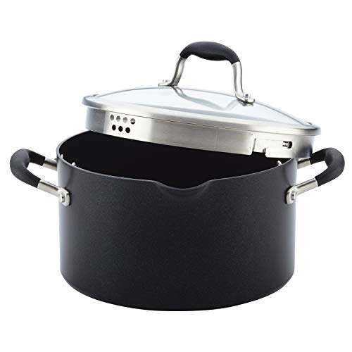 Anolon 84541 6-Qt. Covered Hard Anodized Aluminum Stockpot 6 Quart Onyx