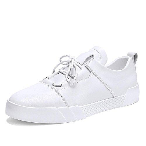 Scarpe piatte scarpe sportive Scarpe da corsa Scarpe da uomo pelle impermeabile del Sport all'aria aperta Fatto a mano Usura antiscivolo , bianca , UK 5.5 / EU 38