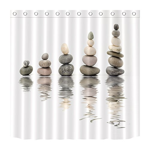 (LB Stacking Stones Rocks Peaceful Water Shower Curtain Set, Oriental Zen Meditation Spiritual Bathroom Decor, 70x70 Inch Polyester Fabric Shower Curtain Waterproof)