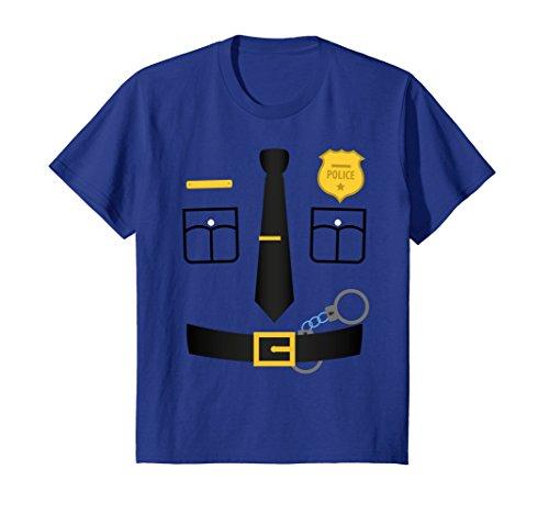 Kids Policeman Costume T-Shirt Halloween Outfit Kids Adult Tee 4 Royal (Good Cop Bad Girl Costume)
