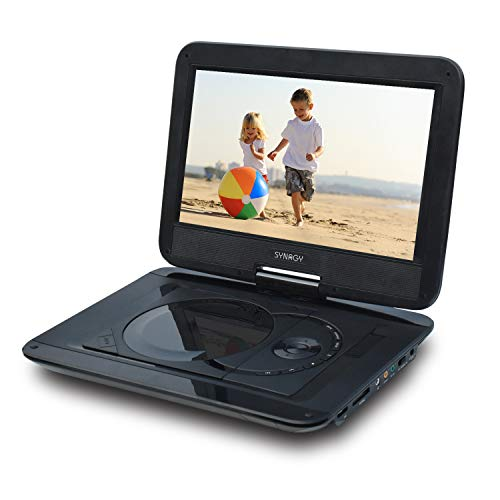 SYNAGY Portable DVD Player with 10.1 Inch HD Swivel Screen, Car Mount Holder, Remote Control, with Built-in Rechargeable Battery,Car Charger and Power Adaptor Support CD/DVD/VCD/SD Card/USB(Black) (Headrest Dvd Black)