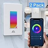 MoKo Smart Life Switch, 2 Pack Smart WiFi Light Switch with Built-in RGB Dimmer Night Light, APP Remote Control & Voice Control, Compatible with Alexa & Google Home, Timer Function - White