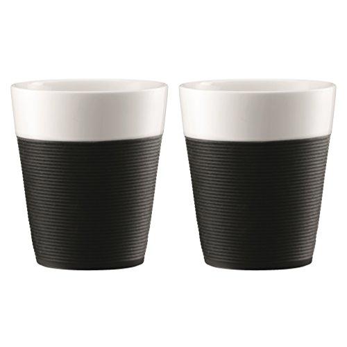 Bodum Bistro - 2 Piece Porcelain Mugs with Black Silicone Sleeve - 0.3l