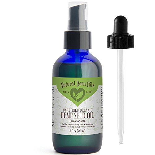 SALE-4oz-Hemp-Seed-Oil-100-Pure-and-Natural-Organic-Moisturizer-for-Skin-and-Hair-with-Omega-3-and-6-Fatty-Acids-Includes-Pump-Dropper