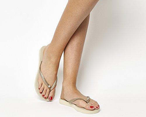 Havaianas Slim Crystal Glamour Sw, sandales Femme Beige (Sand Grey/Light Golden 2719)