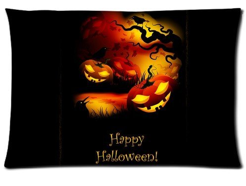 Happy Halloween Pumpkin Shining Smile Pillowcase zip 16x24 (Twin sides) Custom Zippered Pillow Cover Cases